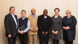 This is a group photo of Dean of Faculty Jon Western with professors Jeremy King, Girma Kebbede, Bode Omojola and Amy Frary, and Acting President Sonya Stephens