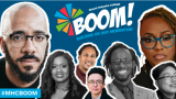 This is a graphic depicting the BOOM logo and speakers against a blue background.