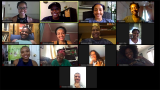 This is a Zoom meeting of dance students smiling and talking.