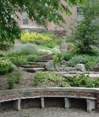 Side path of the Heckel Staircase, seen above the Class of 1904 bench