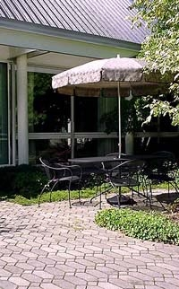 The patio at the Willets-Hallowell Center Courtyard