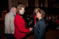 President Pasquerella and Professor Eva Paus talking with Ms. Mary Robinson and her husband before the speech