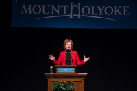 Ms. Mary Robinson giving the speech
