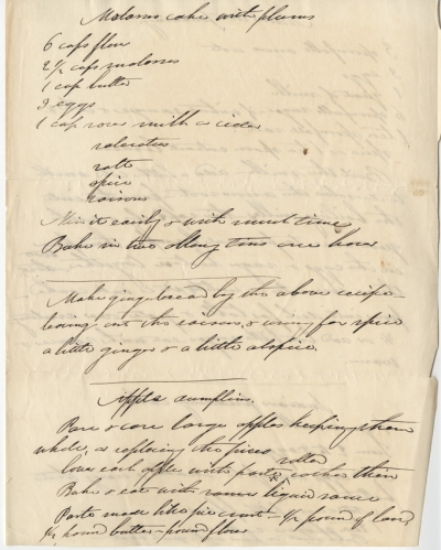 Mary Lyon's recipe for molasses cake and Indian pudding, ca. 1845