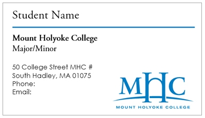Business card template mount holyoke college you now have your own professional looking business cards friedricerecipe Images