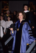 Joanne V. Creighton on stairs at her inauguration