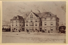 An architect's sketch of Porter Hall