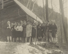 Students outside the lodge in the winter