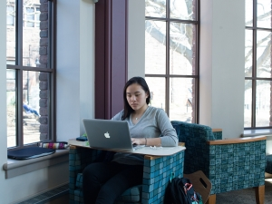 Mount Holyoke College student working on a computer in a library