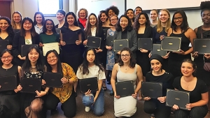 A large group of young students pose with their 2019 Global Competency Awards