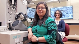 Using Mount Holyoke's transmission electron microscope, Jennifer Tasneem '17 worked closely with Blanca Carbajal González '08 on her senior thesis on the synthesis of iron oxide nanocubes.