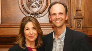 Naomi Klein and Timothy Farnham, Director of the Miller Worley Center for the Environment.