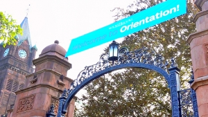 A banner welcomes new students to Orientation.