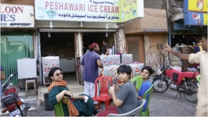 Women at a Peshawari ice cream stand.