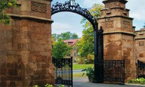 This is a photo of Mount Holyoke College's iconic gates.
