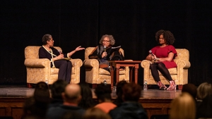 From left, Barbara Smith '69, Beverly Guy-Scheftall and Raquel Willis engaged in the keynote conversation on radical inclusion