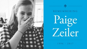 "This is a photo of Paige Zeiler with text reading ""Remembering Paige Zeiler, 1996 - 2017."""