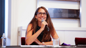 This is a picture of Elizabeth Gómez Alcorta, who leads Argentina's Ministry of Women, Gender and Diversity.