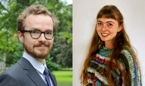 These are side-by-side portraits of Assistant Professor of politics Adam Hilton and student Amelia Malpas.