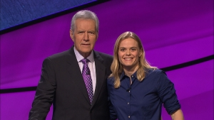 "Kerstin Nordstrom with ""Jeopardy!"" host Alex Trebek."