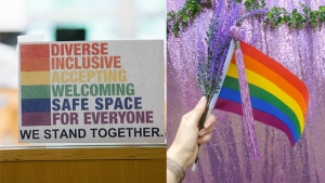 """This is a side-by-side image. On the left, rainbow-colored block letters read, """"Diverse, Inclusive, Accepting, Welcoming Safe Space For Everyone. We stand together."""" On the right, a hand holds a lavender tassel, lavender sprig and a rainbow flag."""