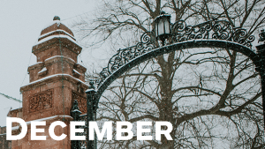 Mount Holyoke College gates, decorated by snow and unlit lights.