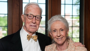 """This is a photograph of Norman """"Sandy"""" McCulloch and his wife, Dotty '50"""
