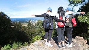 Photo of students enjoying the views on Mountain Day