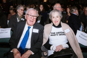 Harriet Weissman '58 and Paul Weissman in Chapin Auditorium during the celebrations of the Weissman Center for Leadership's 20th anniversary.