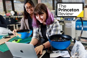 Two Mount Holyoke College students studying in the Fimbel Maker & Innovation Lab