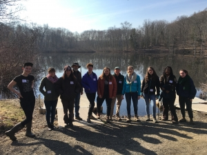 Student, staff and U.S. Fish & Wildlife volunteers pose on the day of Springfield Renaissance high school's annual field trip to Mount Holyoke.