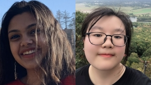 These are side-by-side photos of Shreya Nair and Shuyang Lin.