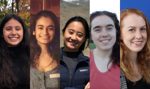 Five Mount Holyoke College students smile into the camera.