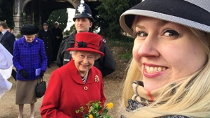 Fossils and flowers: While studying ammonite fossils in England, Whitney Lapic '18 had occasion to give Queen Elizabeth II flowers in Sandringham.