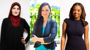 L-R) Linda Sarsour, Carmen Perez and Tamika Mallory are the keynote speakers for the Women of Color Trailblazers Leadership Conference this year.