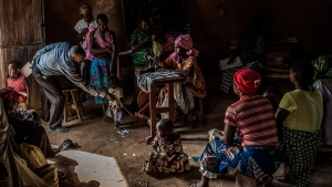 This shows a group of survivors of sexual violence and their families, who work in a sewing studio outside the city of Beni, eastern Democratic Republic of Congo.