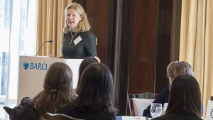 Image of Barbara Byrne '76 speaking to students.