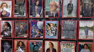 Issues of Time magazine are displayed inside the publication's New York City office