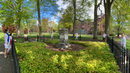 A panoramic image of Gabe '16, Kelly '18, Siena '99, Stevie '05, Margaret '04, Sam '05 and Sara '05 surrounding Mary Lyon's grave while physically distancing. (photo by Emily Myer '09)