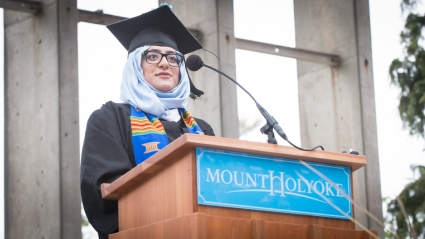 Anqa Khan speaking at 2017 Commencement