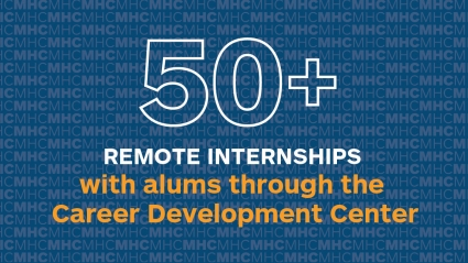 Infographic: 5-+ Remote internships with alums through the Career Development Center