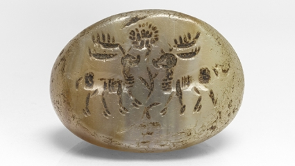 Sasanian (from Afghanistan) stamp seal with two stags, 224 - 651 CE. Photograph by Laura Shea.