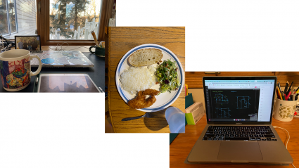 Left: a students workspace; Center: dinner on a plate; Right: a laptop with an electromagnetism class project displayed