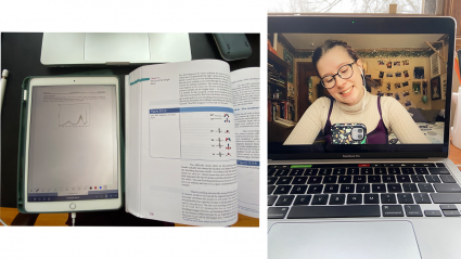 Left: an ipad next to an open textbook; Rifht: Lucy Anderson on a Zoom call