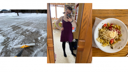 Left: a driveway being shoveled; Center: a student standing in front of a mirror; Right: a bowl of lunch