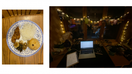 Left: dinner plate; Right: A laptop in a darkened room with twinkly lights