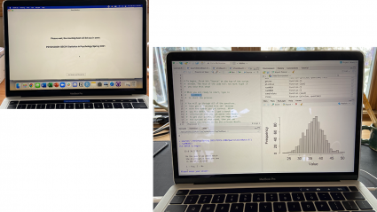 Left: a laptop with a Zoom waiting room displayed; Right: A laptop with a science class project displayed
