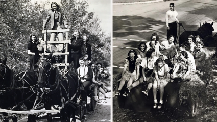 Two groups of students enjoying the horse drawn hayride on Mountain Day in the 1940s