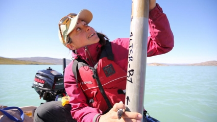 Photo of Heidi Roop '07 doing fieldwork in Greenland