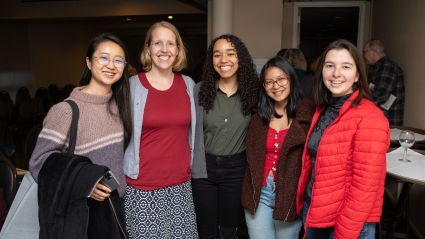 Sarah Adelman and students at the ceremony
